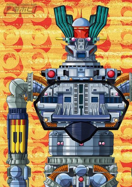 ▲カバー表紙イラスト。マジンガーZの内部メカのイメージは「マジンガーZ大百科号」がモチーフ。背景は初代エンディング・フィルムを意識したもの。